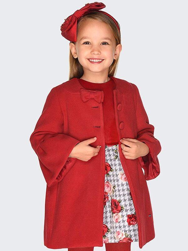 Abrigo paño rojo niña Mayoral