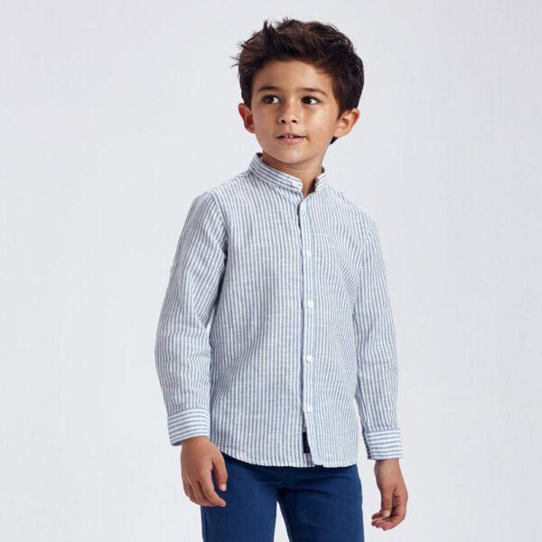 Camisa manga larga lino cuello mao rayas niño