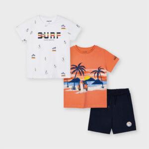 Conjunto punto dos camisetas y bermuda niño Mayoral