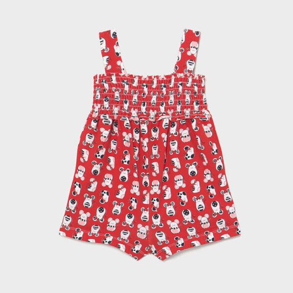 Mono punto estampado bebé niña ratoncitos rojo Mayoral