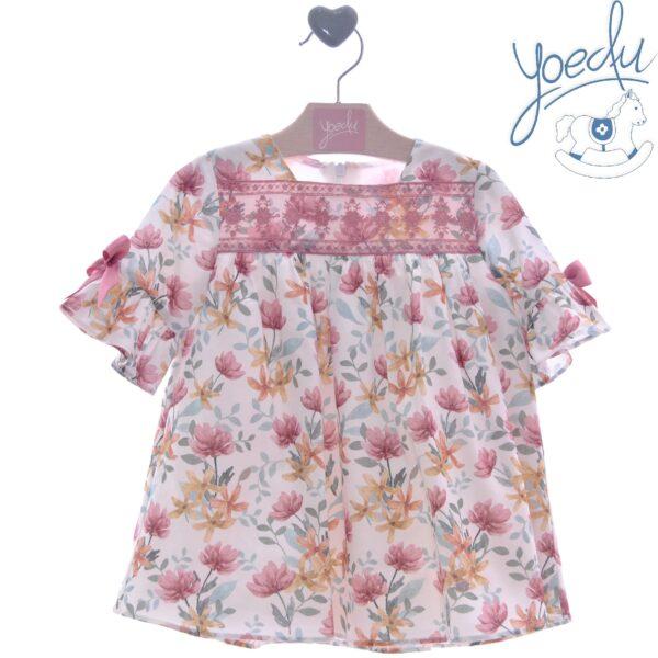 Vestido flores rosa empolvado Yoedu