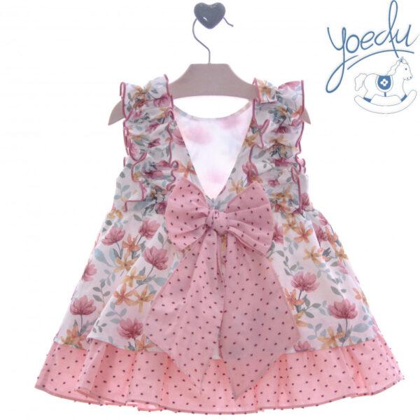 Vestido flores rosa empolvado de sisa Yoedu