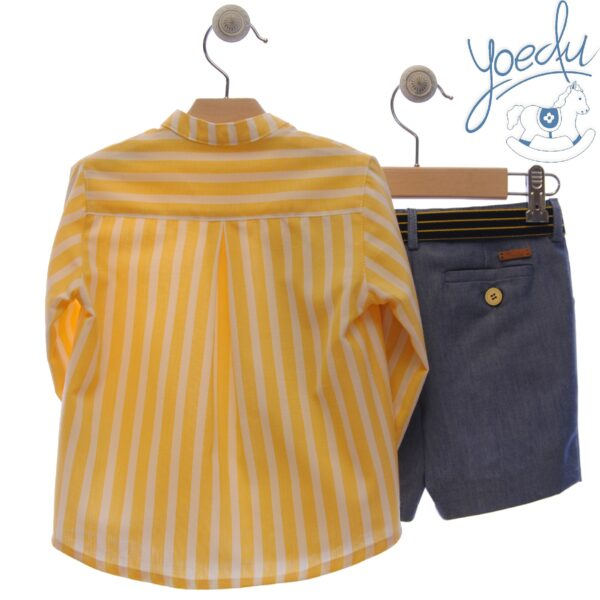 Traje infantil niño pantalón bermuda y cinturón Familia Girasol Yoedu