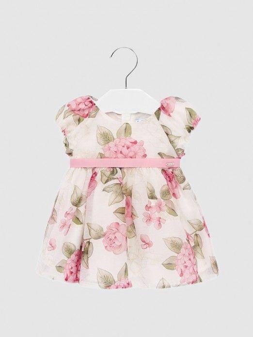 Vestido bebé niña estampado rosado Mayoral