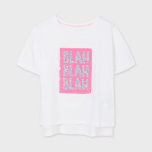 Camiseta chica blanca lentejuelas Mayoral