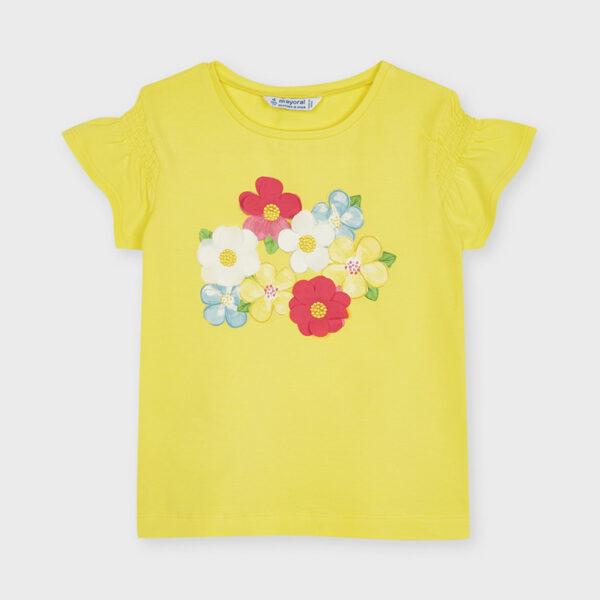 Camiseta amarilla Ecofriends serigrafía niña Mayoral