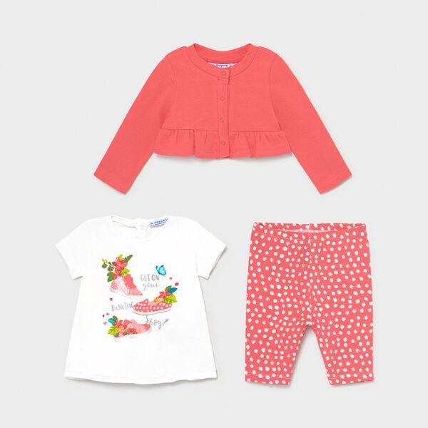 Conjunto leggings 3 piezas bebé niña Mayoral