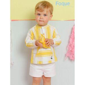 Conjunto niño amarillo y blanco Foque