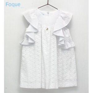 Vestido blanco Voile bordado Foque