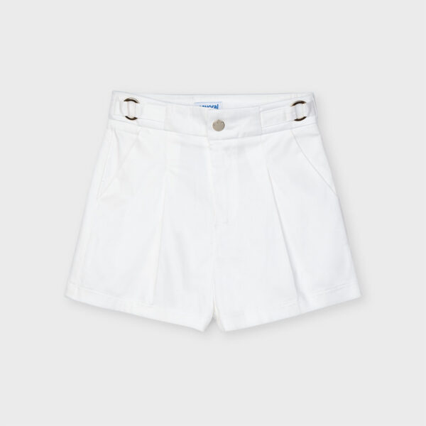 Pantalón corto satén blanco niña Mayoral