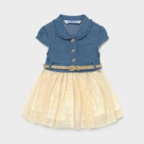 Vestido combinado tejano con tul bebé Mayoral