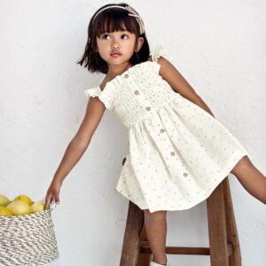 Vestido estampado flocado niña Mayoral