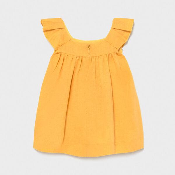 Vestido lino bordado mostaza bebé niña Mayoral