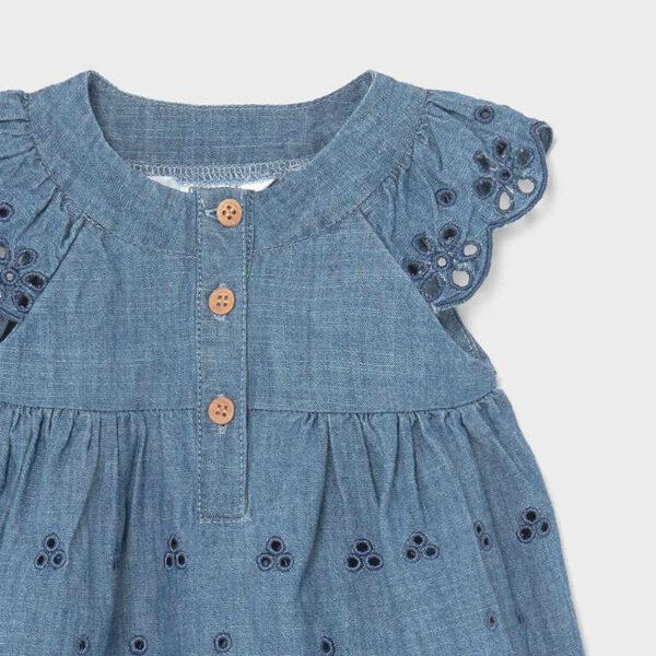 Vestido tejano perforado recién nacida niña Newborn Mayoral