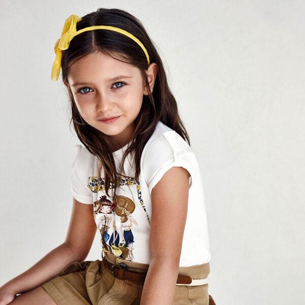 Camiseta manga corta cuadro liberty niña Mayoral