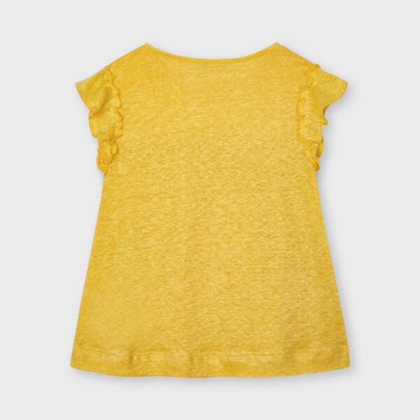 Camiseta manga corta lino mostaza niña Mayoral