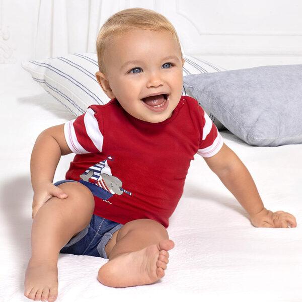 Conjunto pantalón corto tejano bebé Newborn Mayoral