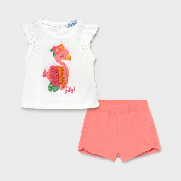 Conjunto short y camiseta con apliques bebé niña Mayoral