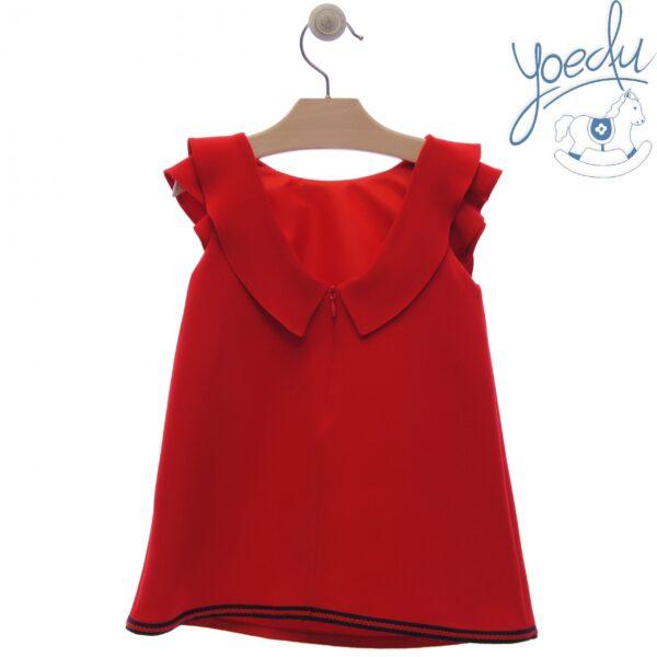 Vestido infantil rojo familia Dalias de Yoedu