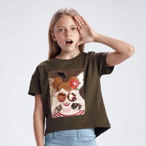 Camiseta caki gráfica chica Mayoral